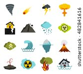 flat natural disaster icons set ...   Shutterstock . vector #482841616