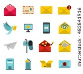 flat email icons set. universal ...