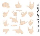 hand gesture icons set in... | Shutterstock .eps vector #482842216