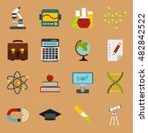 flat education icons set....