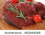 fresh raw beef steak with... | Shutterstock . vector #482846068