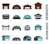 flat hangar icons set....