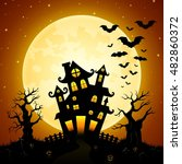 halloween night background with ... | Shutterstock .eps vector #482860372
