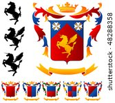 coat of arms   winged horse | Shutterstock .eps vector #48288358