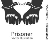 Hands In Handcuffs Isolated...