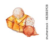 honey toast with ice cream.... | Shutterstock . vector #482883928