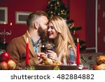 beautiful couple in a decorated ... | Shutterstock . vector #482884882