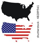 usa flag design map | Shutterstock .eps vector #48289561