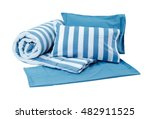 blue set of pillows and blanket ... | Shutterstock . vector #482911525