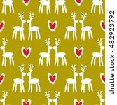 seamless pattern with deers.... | Shutterstock .eps vector #482923792