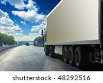 white truck on asphalt road... | Shutterstock . vector #48292516