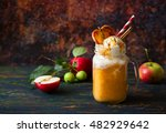 apple cider float with caramel... | Shutterstock . vector #482929642