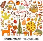 vector autumn forest design... | Shutterstock .eps vector #482931886