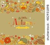 hello autumn banner in doodle... | Shutterstock .eps vector #482931898