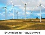 wind turbines on cattle farm... | Shutterstock . vector #482939995