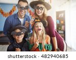 Stock photo family has fun in halloween time 482940685