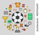 football soccer line art thin... | Shutterstock .eps vector #482941645