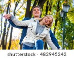 young couple hugging and... | Shutterstock . vector #482945242