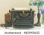 black vintage typewriter with... | Shutterstock . vector #482945632