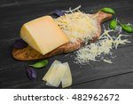parmesan cheese piece on wooden ... | Shutterstock . vector #482962672
