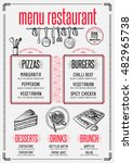 placemat menu restaurant food... | Shutterstock .eps vector #482965738