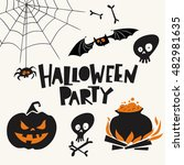 set of cartoon style halloween... | Shutterstock .eps vector #482981635