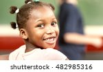 happy black girl in elementary... | Shutterstock . vector #482985316