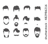 men hairstyle icons set with... | Shutterstock .eps vector #482986216