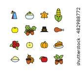 set of abstract thanksgiving... | Shutterstock . vector #482988772