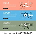 flat line web banners of... | Shutterstock . vector #482989435
