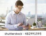 portrait of handsome caucasian... | Shutterstock . vector #482991595