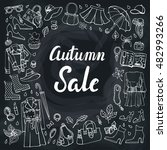 autumn womens clothing doodle... | Shutterstock .eps vector #482993266