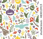 seamless pattern on the theme... | Shutterstock .eps vector #483013915