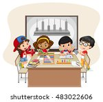 students learning math in class ... | Shutterstock .eps vector #483022606