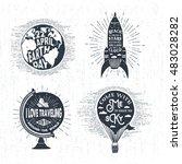 hand drawn vintage labels set... | Shutterstock .eps vector #483028282