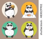 cute panda character eating... | Shutterstock .eps vector #483029902