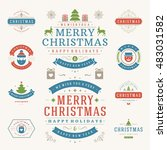 christmas labels and badges... | Shutterstock .eps vector #483031582