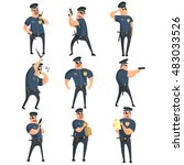 american policeman funny... | Shutterstock .eps vector #483033526
