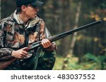 male hunter in the autumn... | Shutterstock . vector #483037552