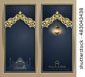 ramadan kareem greeting card...   Shutterstock .eps vector #483043438