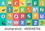 animals alphabet. letter from a ... | Shutterstock .eps vector #483048706
