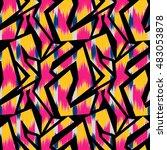ikat seamless pattern design...   Shutterstock . vector #483053878