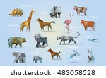 vector set of different animals ... | Shutterstock .eps vector #483058528