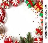 christmas wreath of gifts  fir... | Shutterstock . vector #483059725