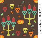 halloween party seamless... | Shutterstock .eps vector #483061342