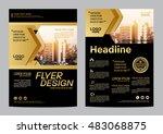 gold brochure layout design... | Shutterstock .eps vector #483068875