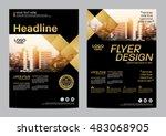 gold brochure layout design... | Shutterstock .eps vector #483068905