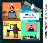 online education concept with... | Shutterstock .eps vector #483071968