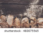 bread border on dark wood with... | Shutterstock . vector #483075565