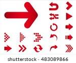 Arrow vector 3d button icon set red color on white background. Isolated interface line symbol for app, web and music digital illustration design. Application sign element collection. | Shutterstock vector #483089866